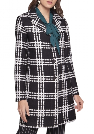 CASACO JACQUARD NOVAD BIG CHECK PRETO/OF